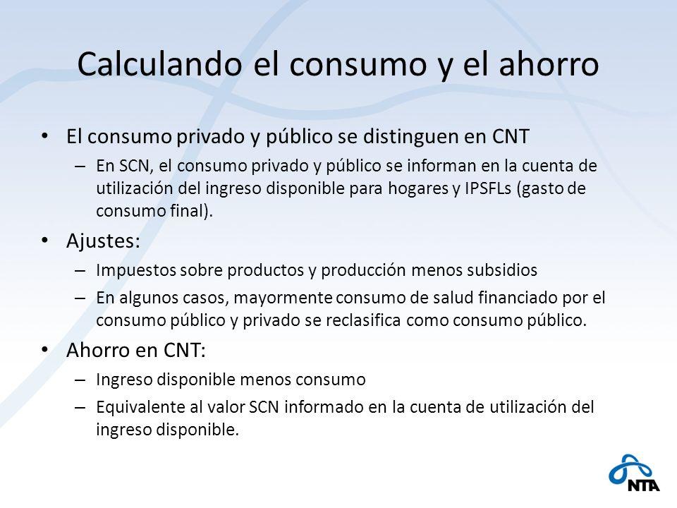 Calculando el consumo y el ahorro El consumo privado y público se distinguen en CNT – En SCN, el consumo privado y público se informan en la cuenta de