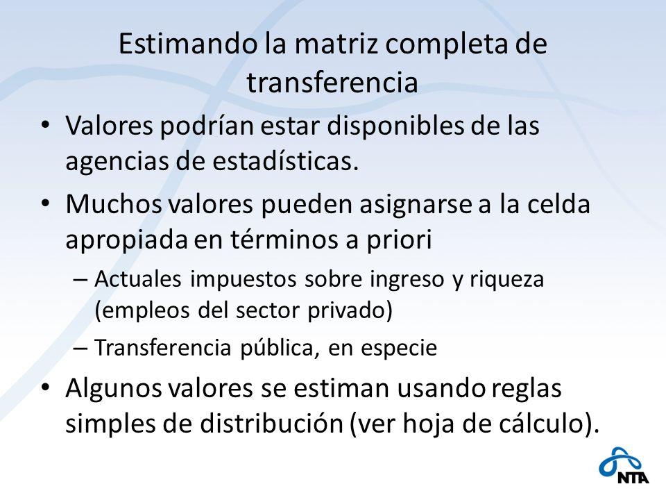 Estimando la matriz completa de transferencia Valores podrían estar disponibles de las agencias de estadísticas. Muchos valores pueden asignarse a la