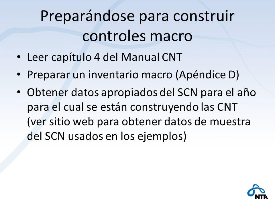Preparándose para construir controles macro Leer capítulo 4 del Manual CNT Preparar un inventario macro (Apéndice D) Obtener datos apropiados del SCN