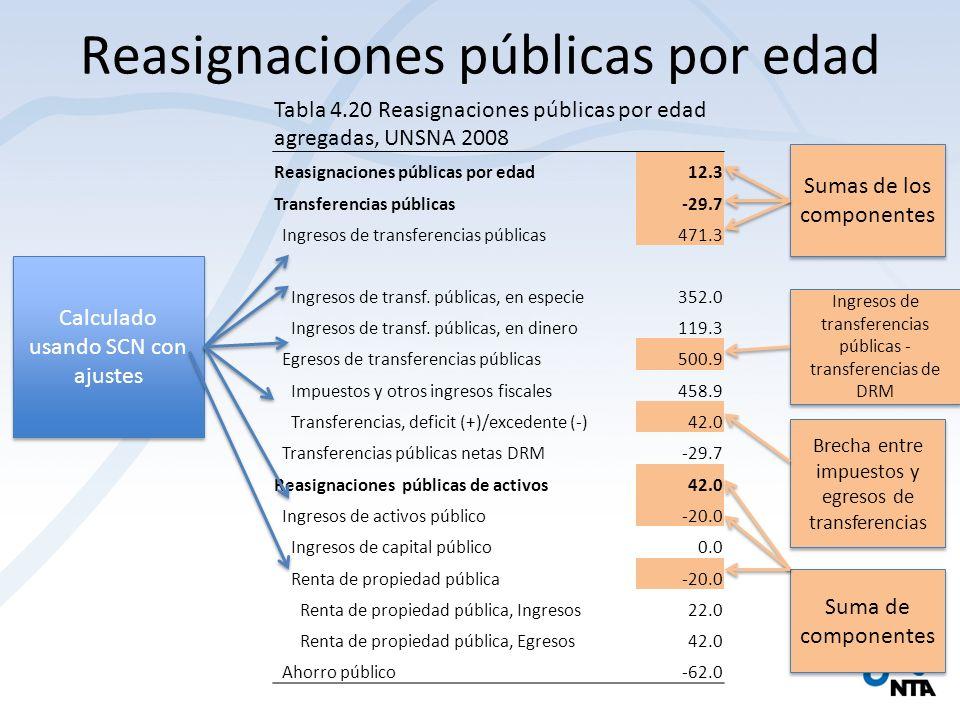 Reasignaciones públicas por edad Tabla 4.20 Reasignaciones públicas por edad agregadas, UNSNA 2008 Reasignaciones públicas por edad12.3 Transferencias