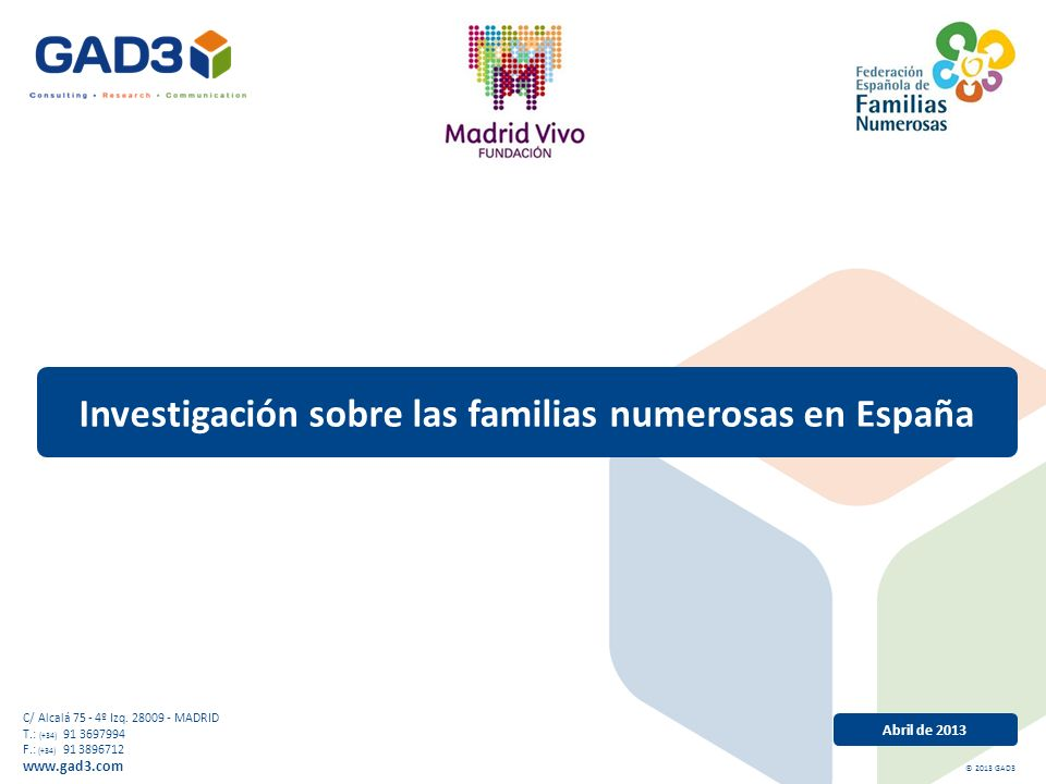Abril de 2013 Investigación sobre las familias numerosas en España C/ Alcalá 75 - 4º Izq.