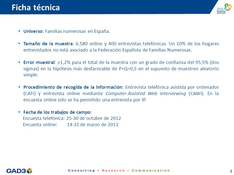 2 Ficha técnica Universo: Familias numerosas en España.