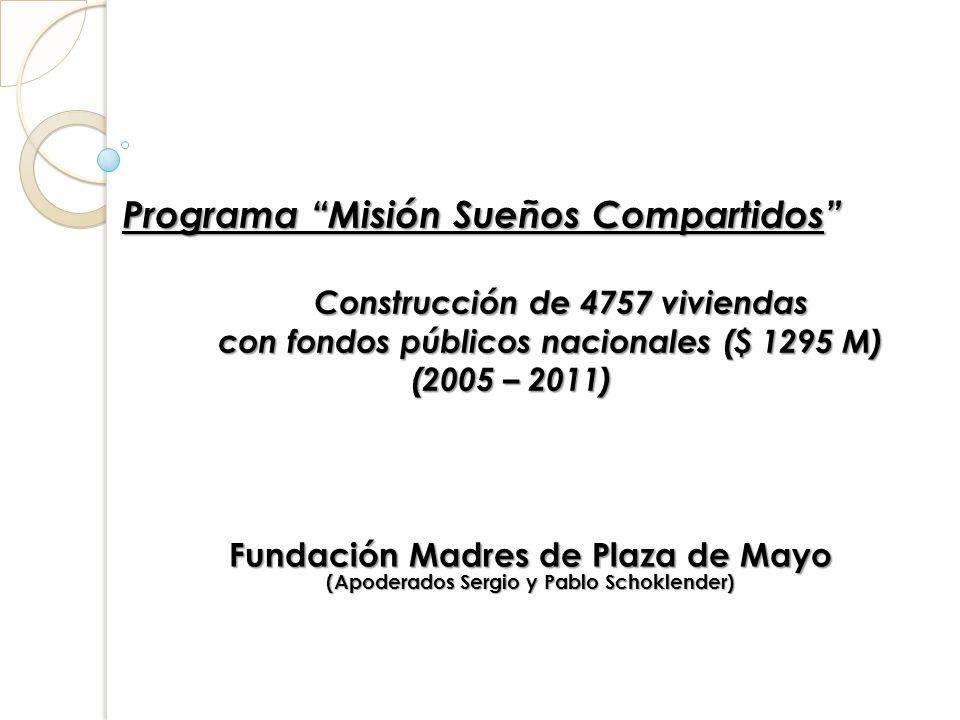 Programa Misión Sueños Compartidos Construcción de 4757 viviendas con fondos públicos nacionales ($ 1295 M) (2005 – 2011) Programa Misión Sueños Compa