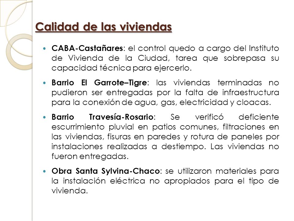Calidad de las viviendas CABA-Castañares : el control quedo a cargo del Instituto de Vivienda de la Ciudad, tarea que sobrepasa su capacidad técnica p