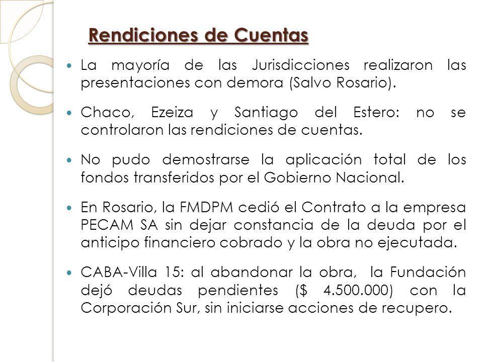 Rendiciones de Cuentas La mayoría de las Jurisdicciones realizaron las presentaciones con demora (Salvo Rosario). Chaco, Ezeiza y Santiago del Estero: