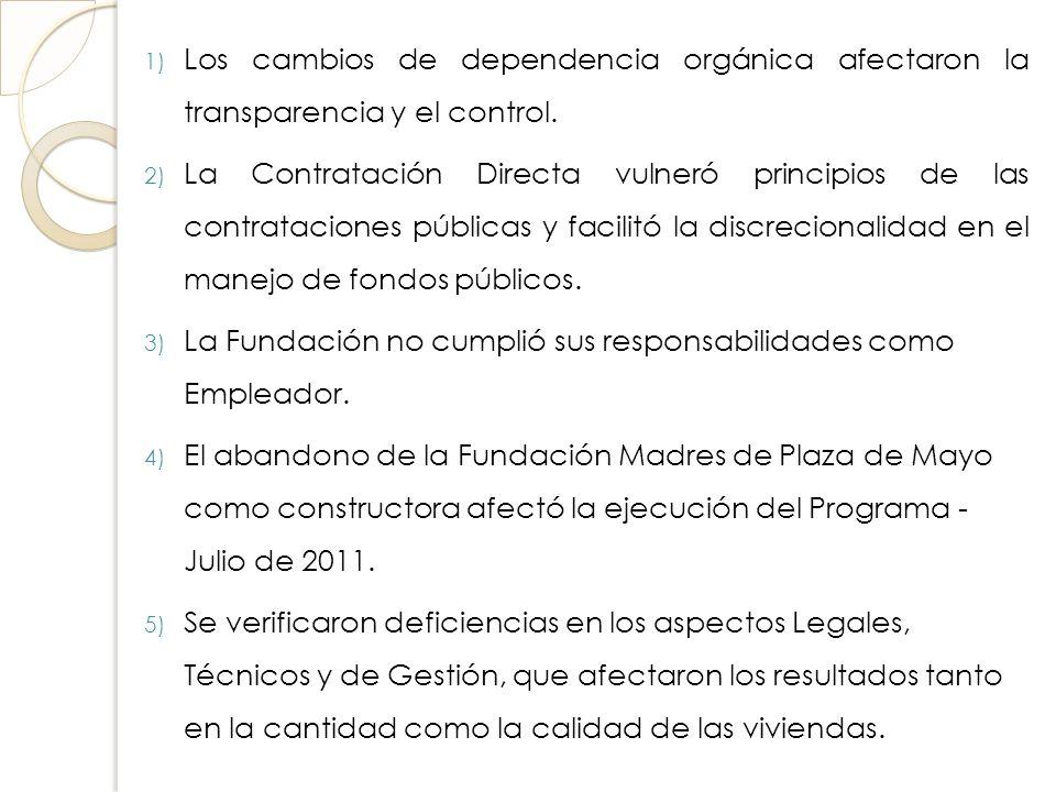 1) Los cambios de dependencia orgánica afectaron la transparencia y el control. 2) La Contratación Directa vulneró principios de las contrataciones pú