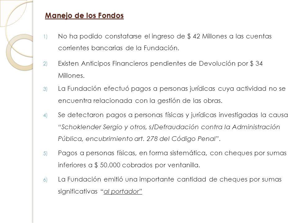 Manejo de los Fondos 1) No ha podido constatarse el ingreso de $ 42 Millones a las cuentas corrientes bancarias de la Fundación. 2) Existen Anticipos