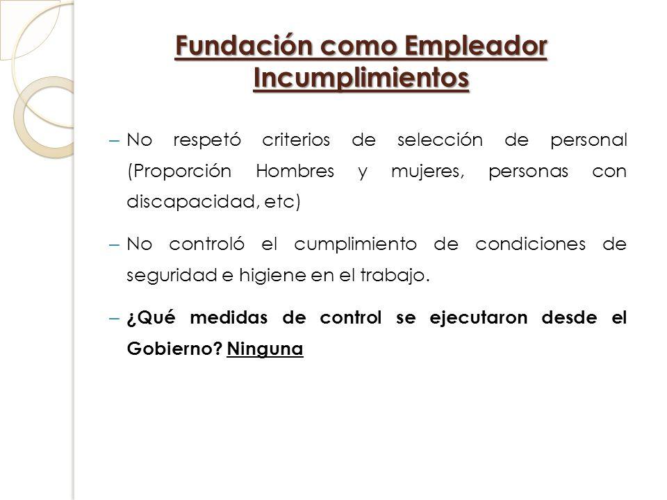 Fundación como Empleador Incumplimientos – No respetó criterios de selección de personal (Proporción Hombres y mujeres, personas con discapacidad, etc
