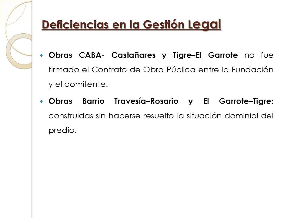 Deficiencias en la Gestión L egal Obras CABA- Castañares y Tigre–El Garrote no fue firmado el Contrato de Obra Pública entre la Fundación y el comiten