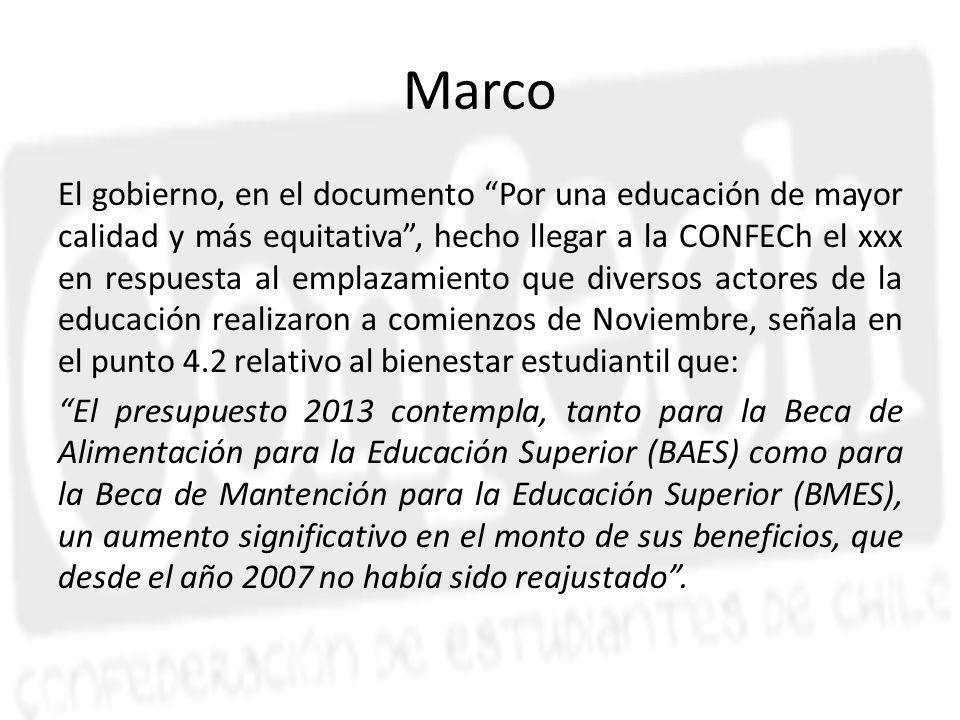 Marco El gobierno, en el documento Por una educación de mayor calidad y más equitativa, hecho llegar a la CONFECh el xxx en respuesta al emplazamiento que diversos actores de la educación realizaron a comienzos de Noviembre, señala en el punto 4.2 relativo al bienestar estudiantil que: El presupuesto 2013 contempla, tanto para la Beca de Alimentación para la Educación Superior (BAES) como para la Beca de Mantención para la Educación Superior (BMES), un aumento significativo en el monto de sus beneficios, que desde el año 2007 no había sido reajustado.