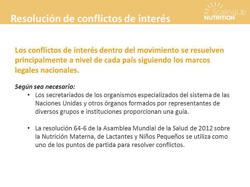 Resolución de conflictos de interés Los conflictos de interés dentro del movimiento se resuelven principalmente a nivel de cada país siguiendo los marcos legales nacionales.