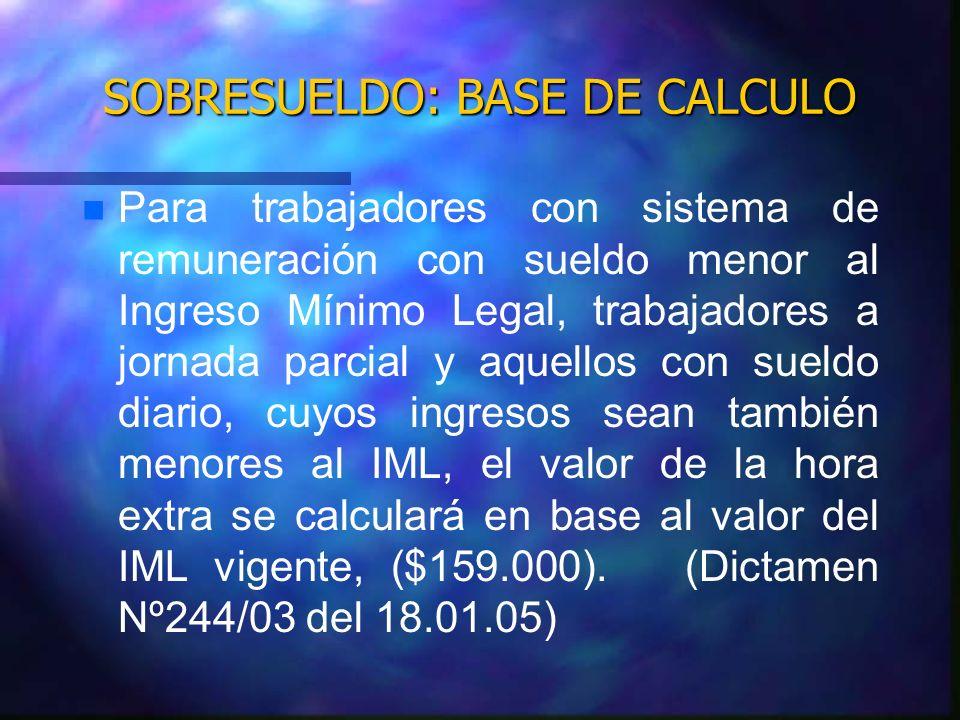 SOBRESUELDO: BASE DE CALCULO n n Para trabajadores con sistema de remuneración con sueldo menor al Ingreso Mínimo Legal, trabajadores a jornada parcia