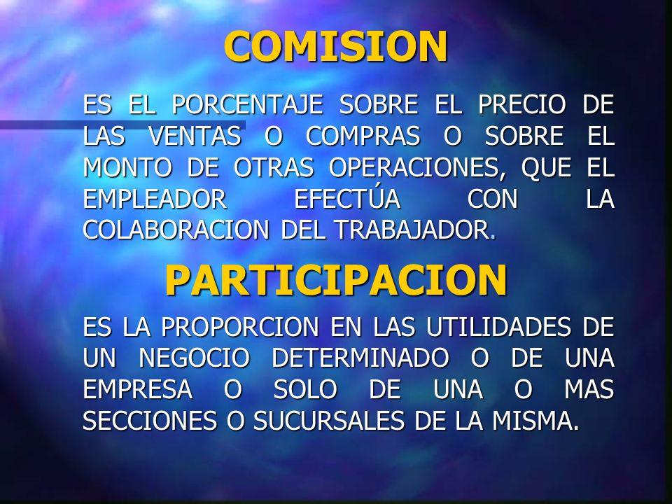 CARACTERISTICAS DE LA PARTICIPACION n Es una forma de participación en las utilidades.