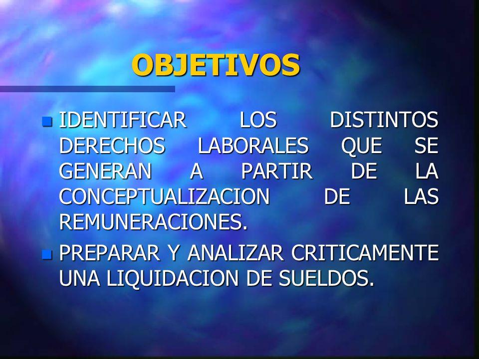 OBJETIVOS n IDENTIFICAR LOS DISTINTOS DERECHOS LABORALES QUE SE GENERAN A PARTIR DE LA CONCEPTUALIZACION DE LAS REMUNERACIONES. n PREPARAR Y ANALIZAR