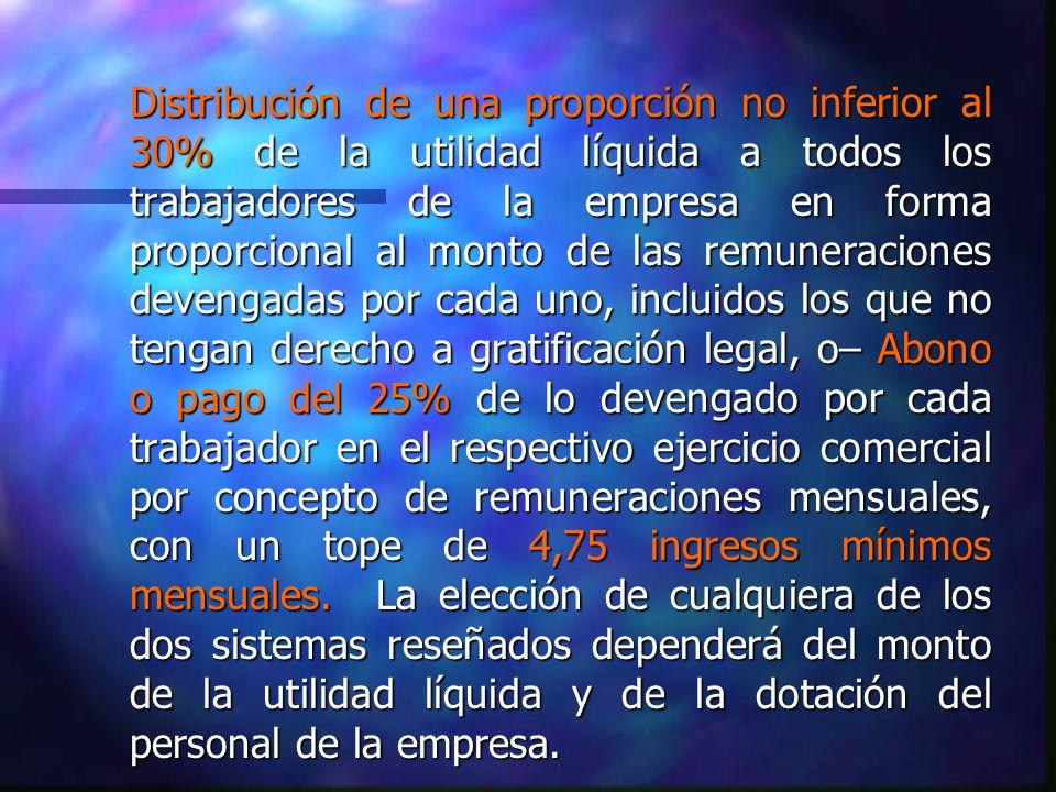 Distribución de una proporción no inferior al 30% de la utilidad líquida a todos los trabajadores de la empresa en forma proporcional al monto de las