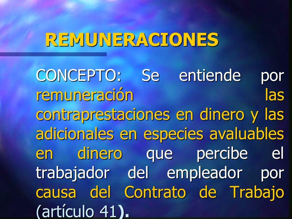 CARACTERISTICAS n CONTRAPRESTACION: Tal características aflora del hecho que el trabajador ejecuta un trabajo o servicio.