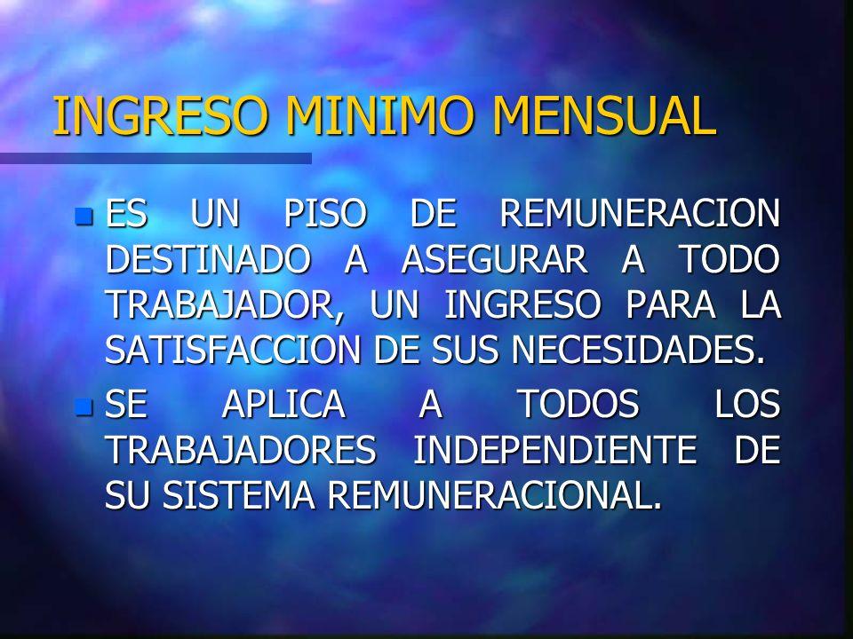 SITUACIONES DE EXCEPCION I.M.M.n Trabajadores menores de 18 años.