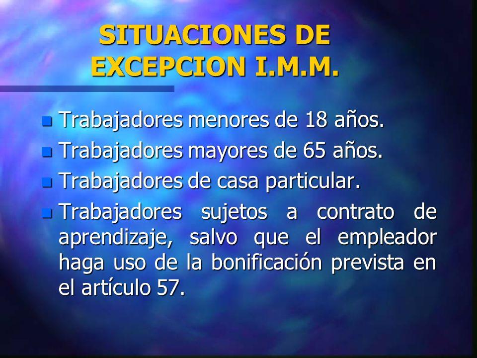 BENEFICIOS NO IMPUTABLES AL INGRESO MINIMO n HORAS EXTRAORDINARIAS.