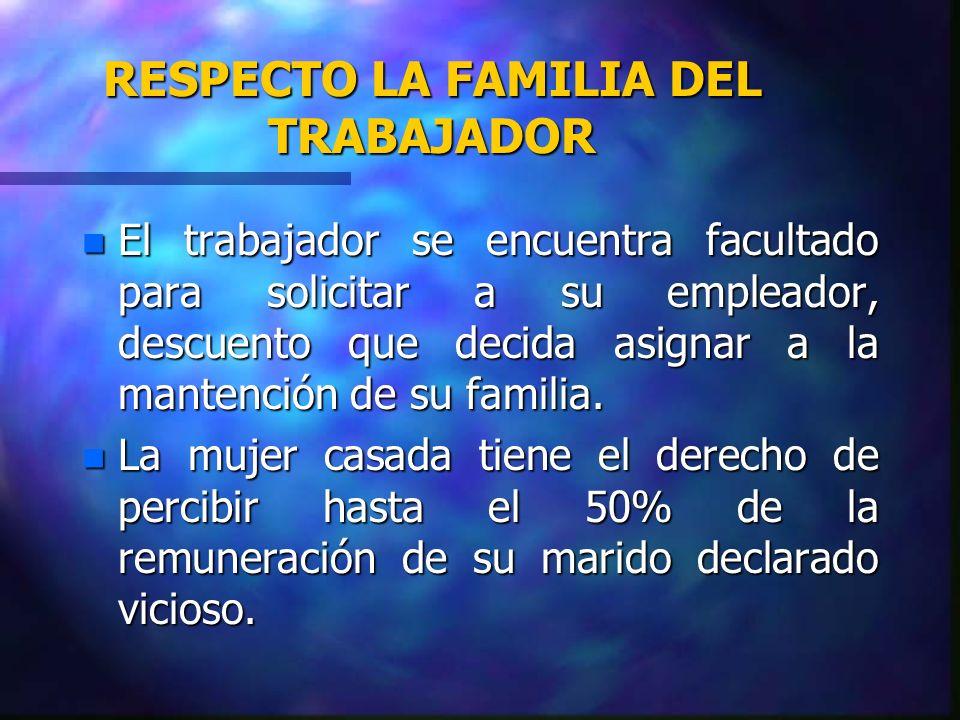 RESPECTO LA FAMILIA DEL TRABAJADOR n El trabajador se encuentra facultado para solicitar a su empleador, descuento que decida asignar a la mantención