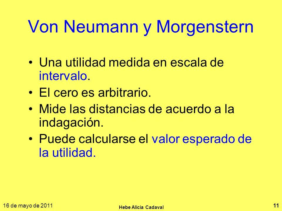 16 de mayo de 2011 Hebe Alicia Cadaval 11 Von Neumann y Morgenstern Una utilidad medida en escala de intervalo. El cero es arbitrario. Mide las distan