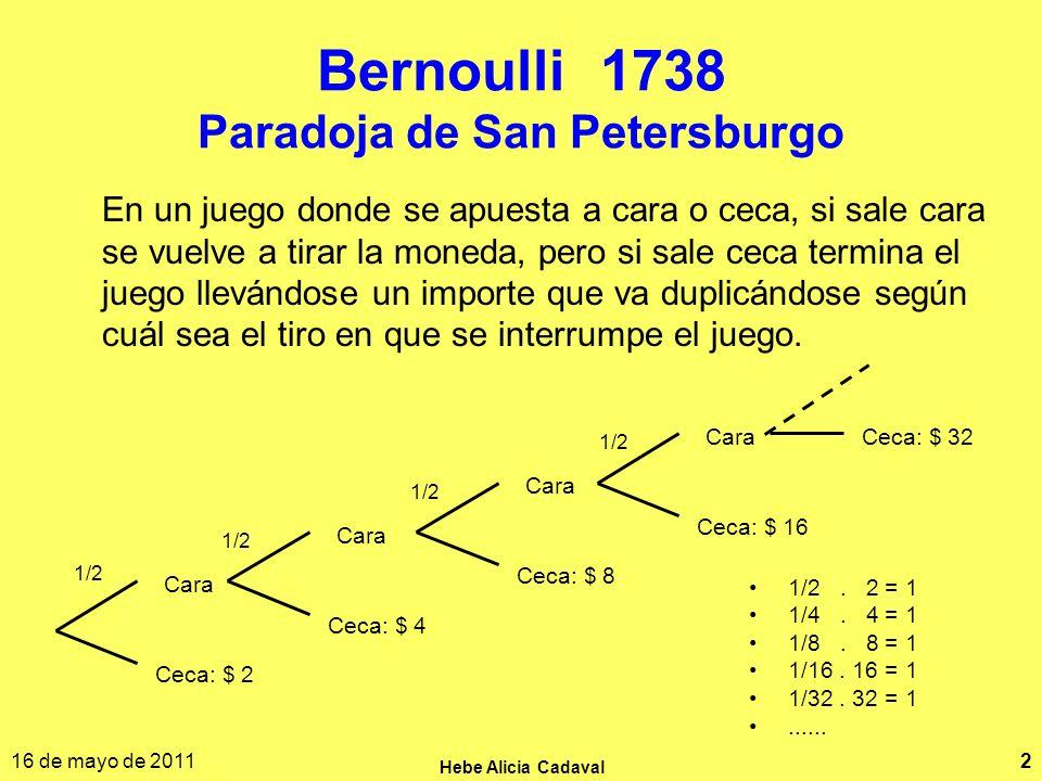 16 de mayo de 2011 Hebe Alicia Cadaval 2 Bernoulli 1738 Paradoja de San Petersburgo 1/2. 2 = 1 1/4. 4 = 1 1/8. 8 = 1 1/16. 16 = 1 1/32. 32 = 1...... C