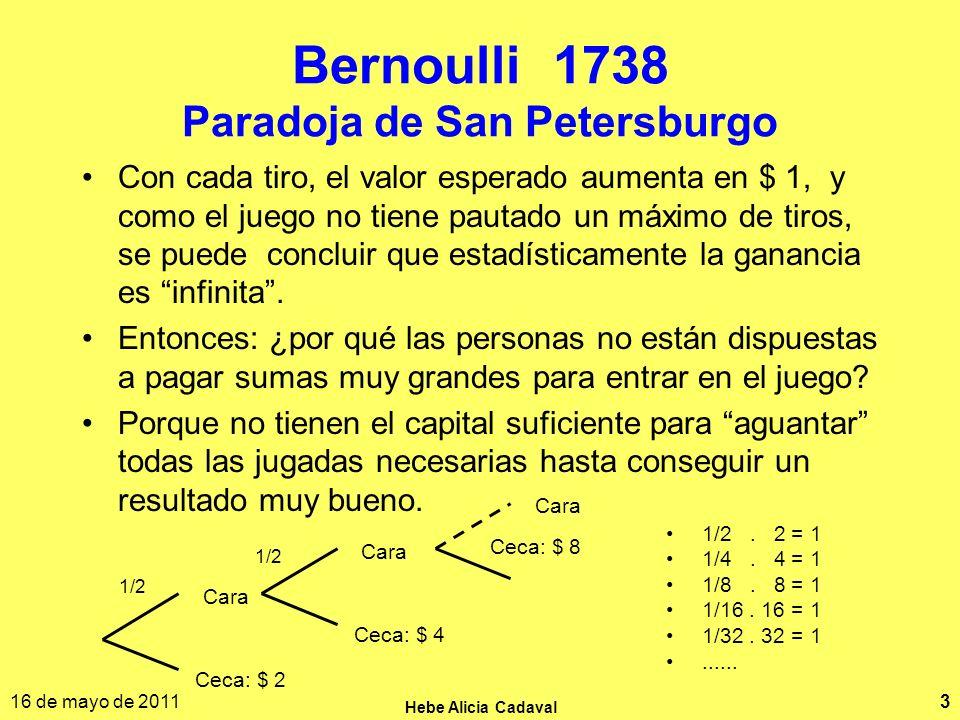 16 de mayo de 2011 Hebe Alicia Cadaval 3 Bernoulli 1738 Paradoja de San Petersburgo 1/2. 2 = 1 1/4. 4 = 1 1/8. 8 = 1 1/16. 16 = 1 1/32. 32 = 1...... C