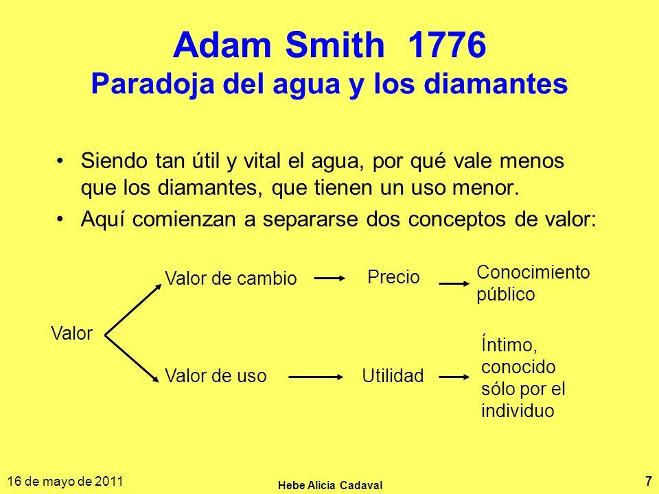 16 de mayo de 2011 Hebe Alicia Cadaval 7 Adam Smith 1776 Paradoja del agua y los diamantes Siendo tan útil y vital el agua, por qué vale menos que los diamantes, que tienen un uso menor.