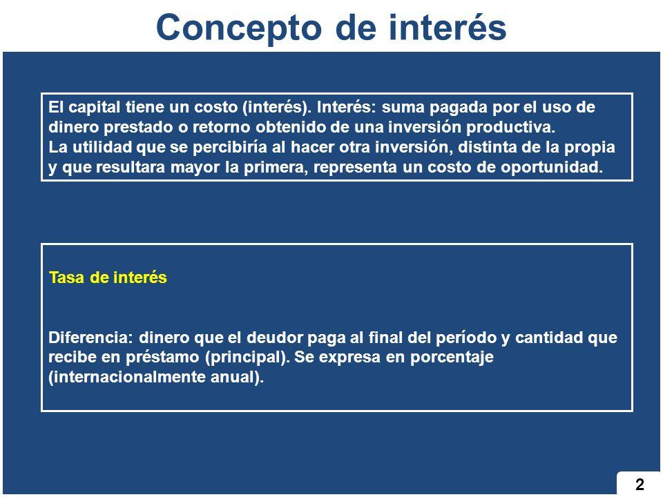 2 Concepto de interés El capital tiene un costo (interés). Interés: suma pagada por el uso de dinero prestado o retorno obtenido de una inversión prod