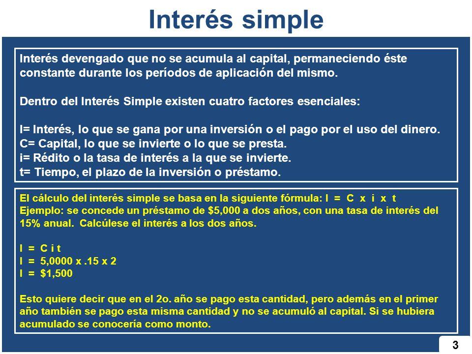 Interés simple 3 Interés devengado que no se acumula al capital, permaneciendo éste constante durante los períodos de aplicación del mismo. Dentro del