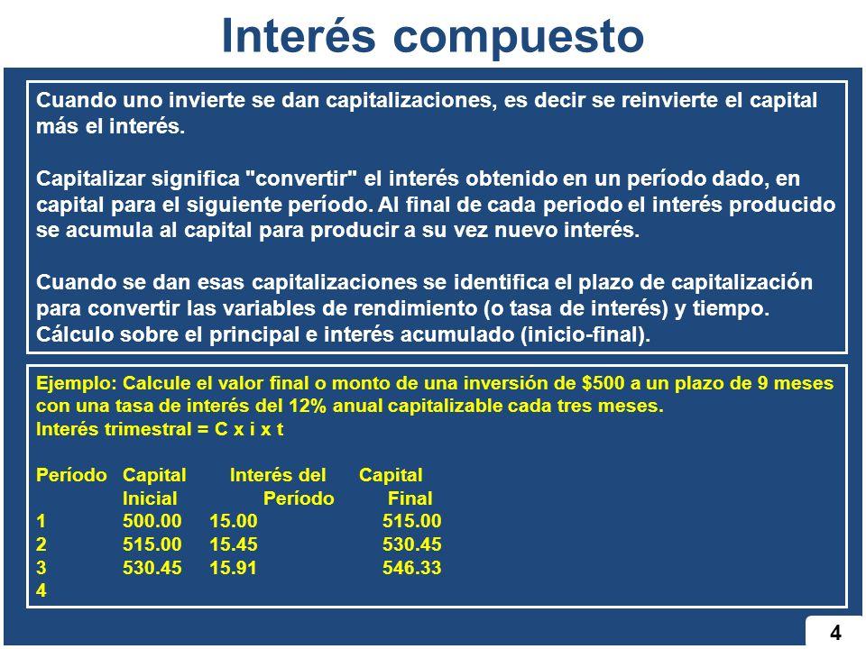 Interés compuesto 4 Cuando uno invierte se dan capitalizaciones, es decir se reinvierte el capital más el interés. Capitalizar significa