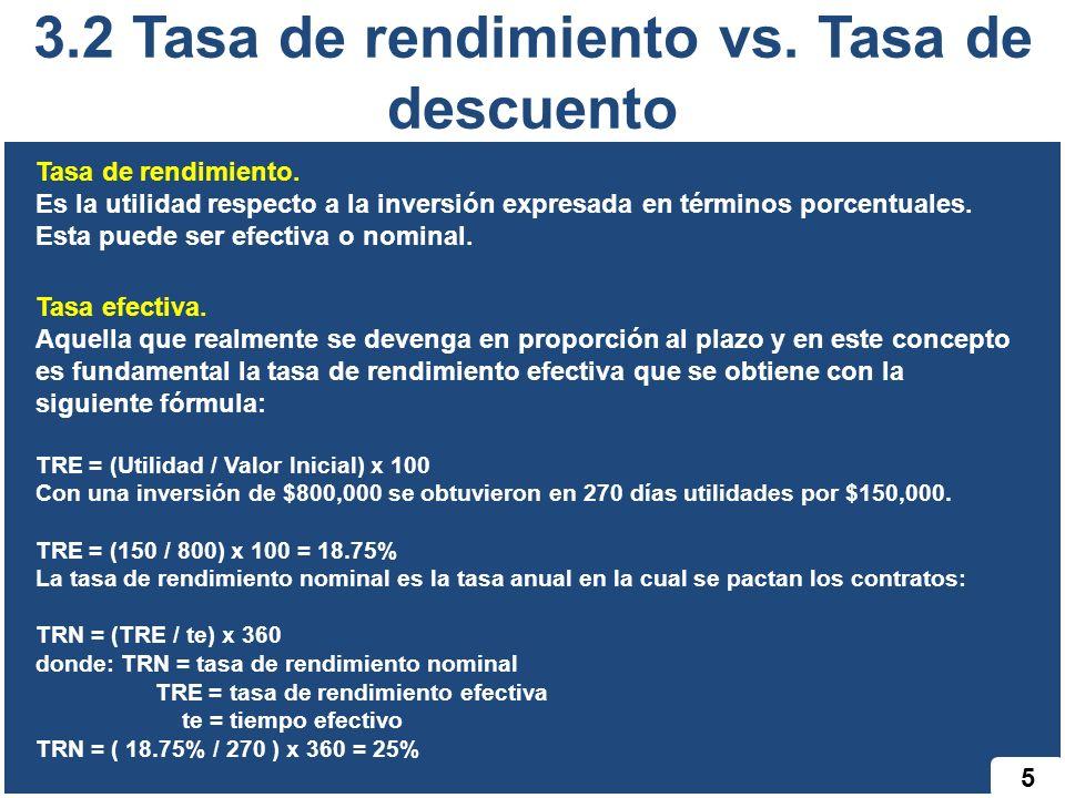 3.2 Tasa de rendimiento vs. Tasa de descuento 5 Tasa de rendimiento. Es la utilidad respecto a la inversión expresada en términos porcentuales. Esta p