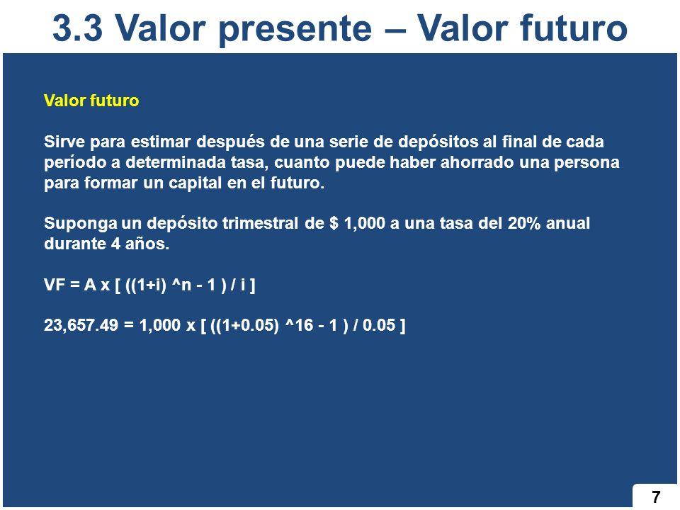 3.3 Valor presente – Valor futuro 7 Valor futuro Sirve para estimar después de una serie de depósitos al final de cada período a determinada tasa, cua