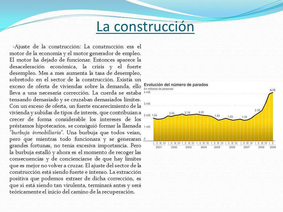 La construcción -Ajuste de la construcción: La construcción era el motor de la economía y el motor generador de empleo. El motor ha dejado de funciona