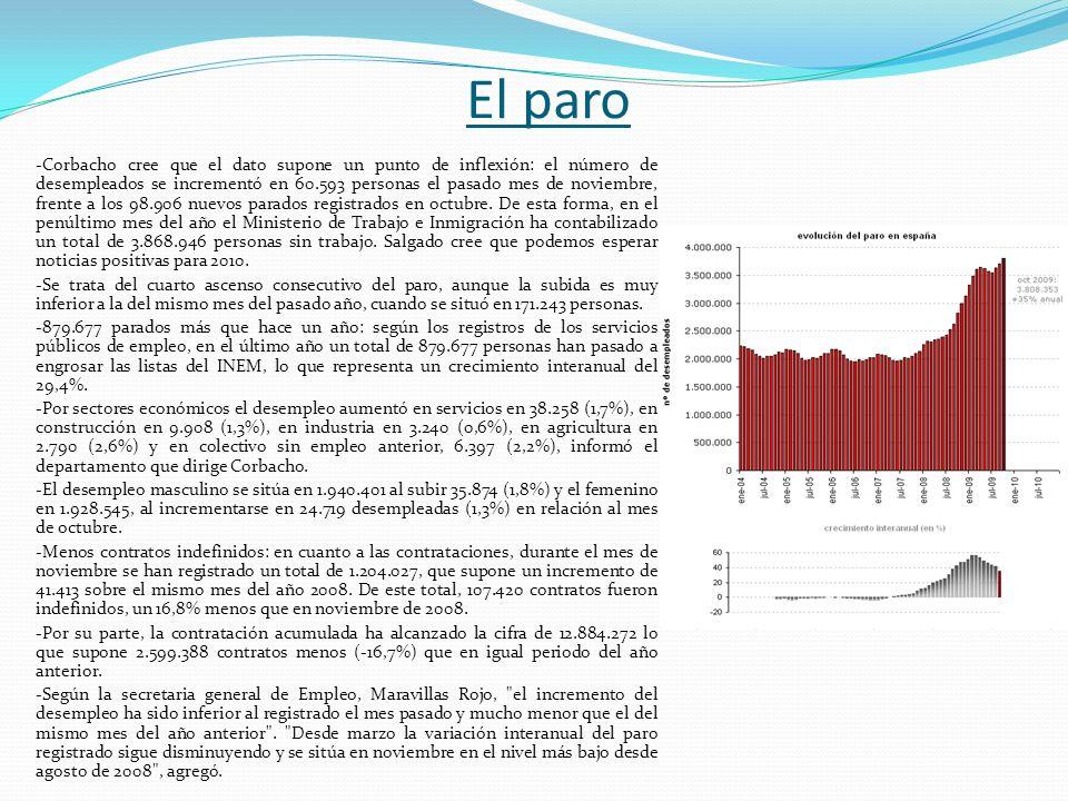 El paro -Corbacho cree que el dato supone un punto de inflexión: el número de desempleados se incrementó en 60.593 personas el pasado mes de noviembre