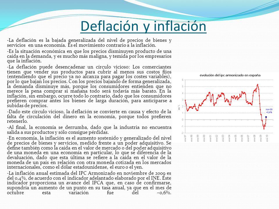Deflación y inflación -La deflación es la bajada generalizada del nivel de precios de bienes y servicios en una economía. Es el movimiento contrario a