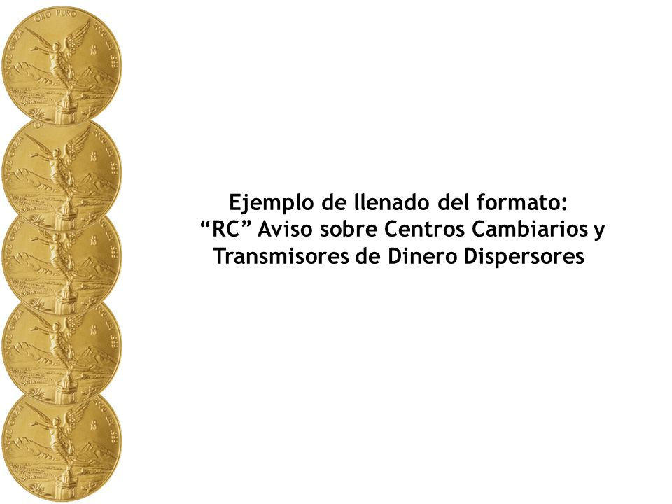 El presente ejemplo muestra como debe llenarse El formato RC Aviso sobre Centros Cambiarios y Transmisores de Dinero Dispersores.