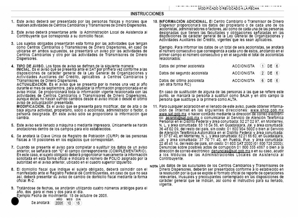Esta sección se refiere a Transmisores de Dinero Dispersores, como este aviso trata de un Centro Cambiario se omite su llenado.