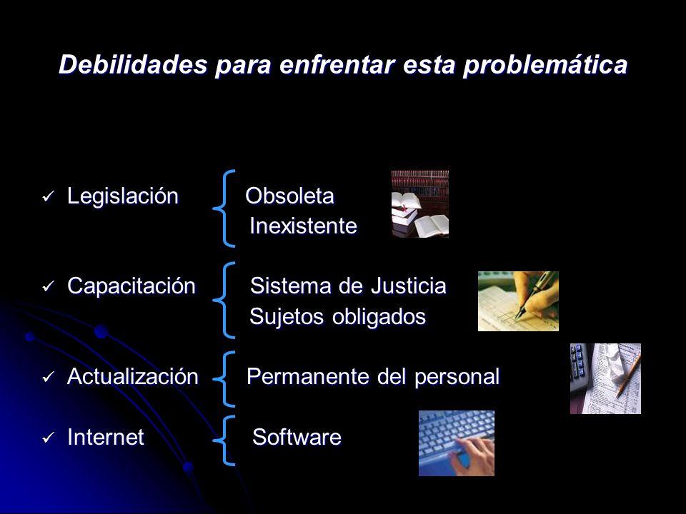 Debilidades para enfrentar esta problemática Legislación Obsoleta Legislación Obsoleta Inexistente Inexistente Capacitación Sistema de Justicia Capaci