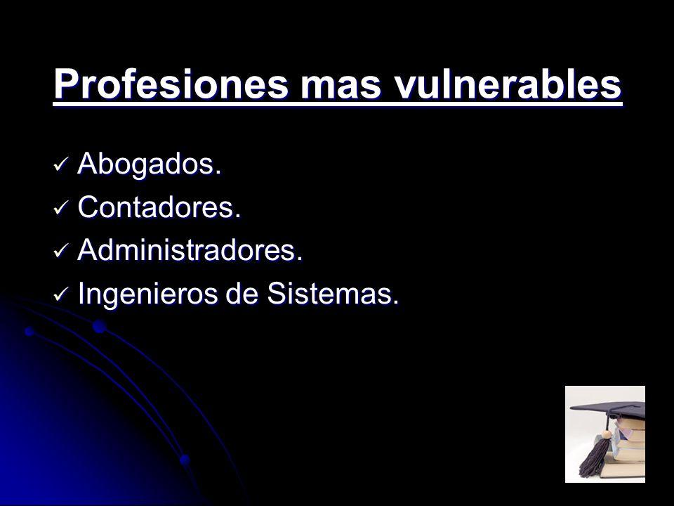 Profesiones mas vulnerables Abogados. Abogados. Contadores. Contadores. Administradores. Administradores. Ingenieros de Sistemas. Ingenieros de Sistem