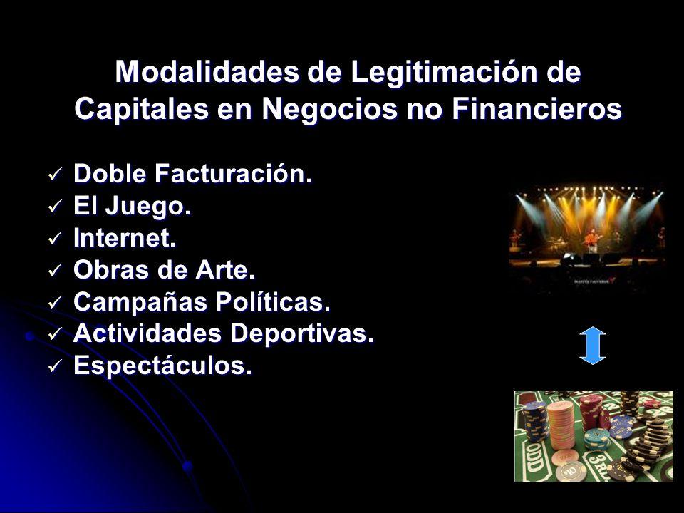 Modalidades de Legitimación de Capitales en Negocios no Financieros Doble Facturación. Doble Facturación. El Juego. El Juego. Internet. Internet. Obra