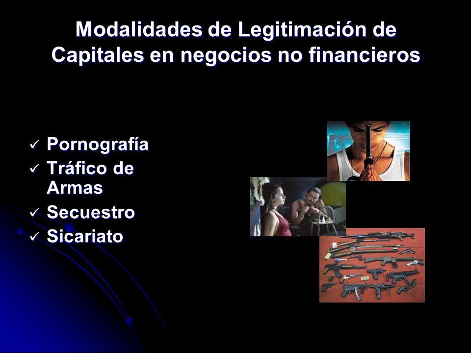 Modalidades de Legitimación de Capitales en negocios no financieros Pornografía Pornografía Tráfico de Armas Tráfico de Armas Secuestro Secuestro Sica