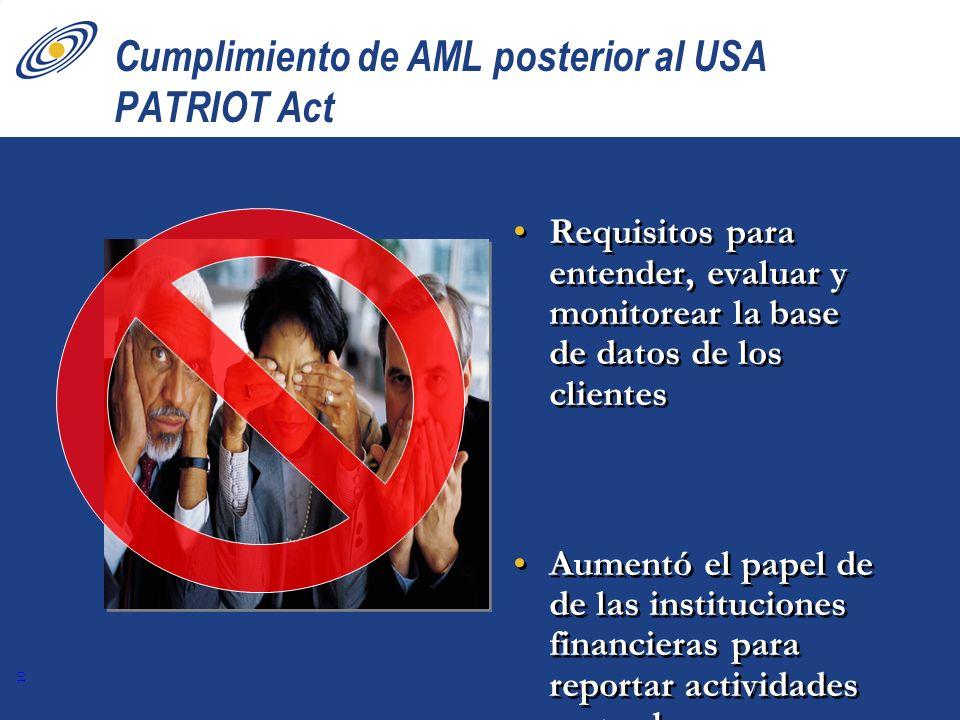 10 Cumplimiento de AML posterior al USA PATRIOT Act Requisitos para entender, evaluar y monitorear la base de datos de los clientes Aumentó el papel d