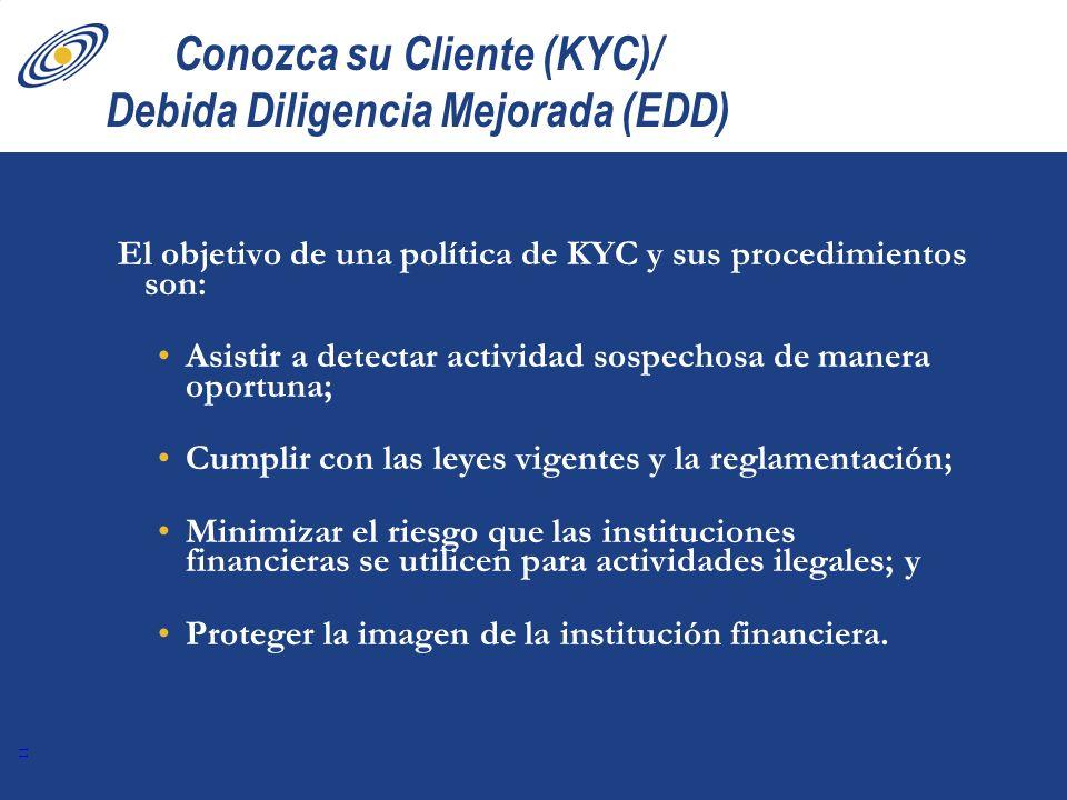11 Conozca su Cliente (KYC)/ Debida Diligencia Mejorada (EDD) El objetivo de una política de KYC y sus procedimientos son: Asistir a detectar activida