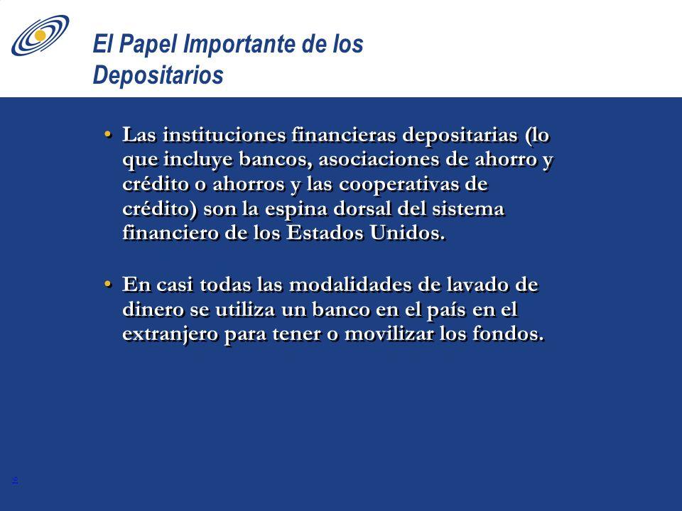 16 El Papel Importante de los Depositarios Las instituciones financieras depositarias (lo que incluye bancos, asociaciones de ahorro y crédito o ahorr