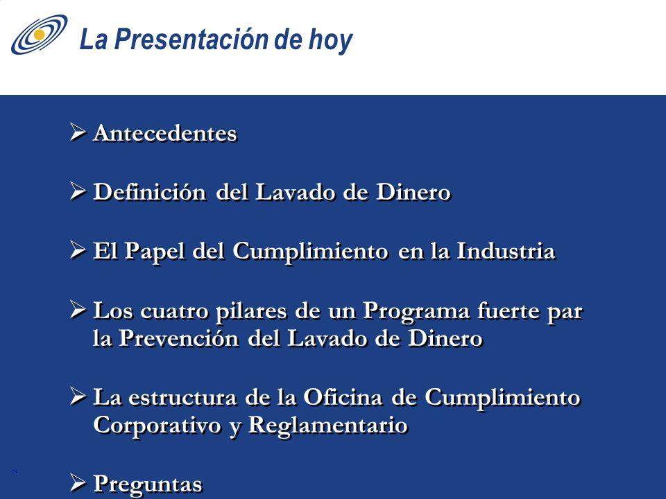 2 La Presentación de hoy Antecedentes Definición del Lavado de Dinero El Papel del Cumplimiento en la Industria Los cuatro pilares de un Programa fuer