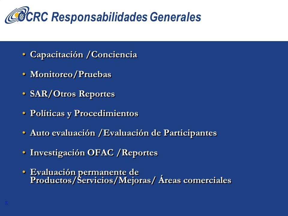 24 OCRC Responsabilidades Generales Capacitación /Conciencia Monitoreo/Pruebas SAR/Otros Reportes Políticas y Procedimientos Auto evaluación /Evaluaci