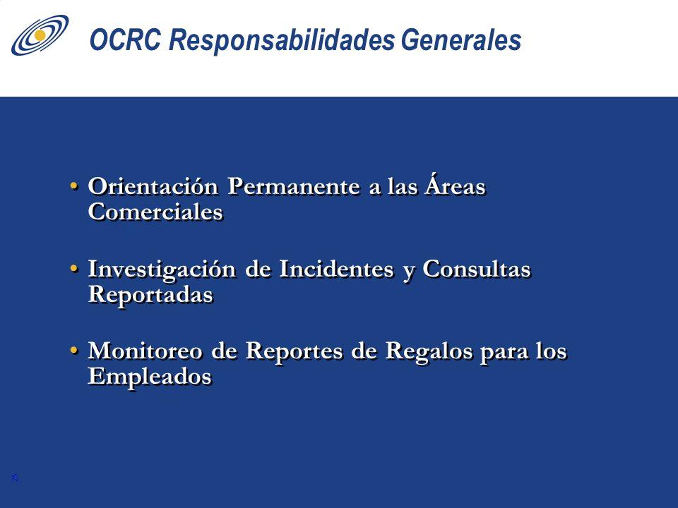 25 OCRC Responsabilidades Generales Orientación Permanente a las Áreas Comerciales Investigación de Incidentes y Consultas Reportadas Monitoreo de Rep