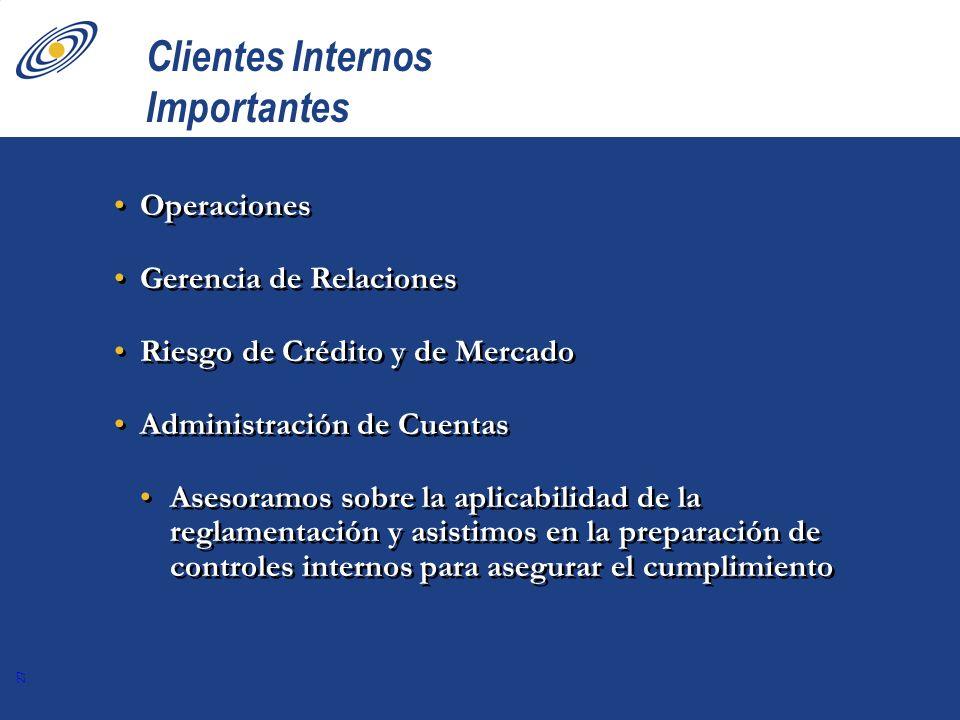 27 Clientes Internos Importantes Operaciones Gerencia de Relaciones Riesgo de Crédito y de Mercado Administración de Cuentas Asesoramos sobre la aplic