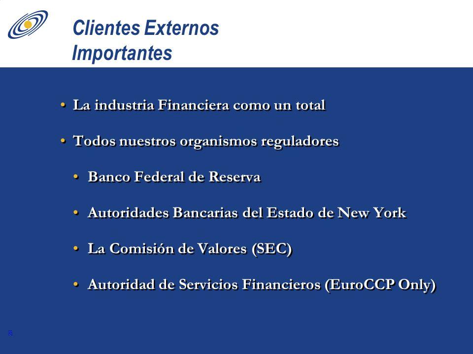 28 Clientes Externos Importantes La industria Financiera como un total Todos nuestros organismos reguladores Banco Federal de Reserva Autoridades Banc