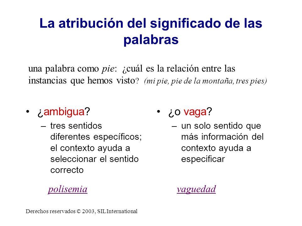 La atribución del significado de las palabras ¿ambigua? –tres sentidos diferentes específicos; el contexto ayuda a seleccionar el sentido correcto ¿o